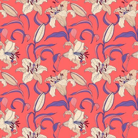 Oriental Lilies floral seamless pattern on a coral background