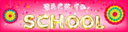 Back to School magenta panorama banner with golden lettering and pinwheels