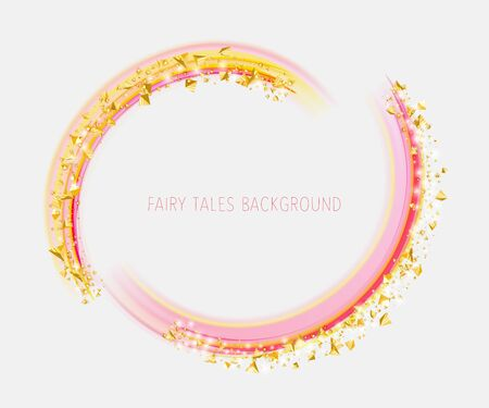 Golden pyramids dust on the pink arcs, round frame template 向量圖像