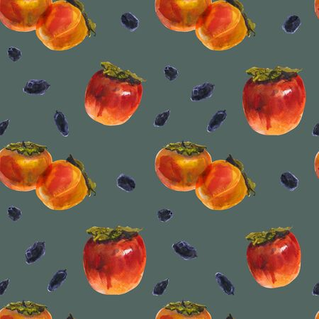 Winter orange persimmon fruits on a vintage color background, watercolor seamless pattern