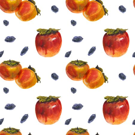 Winter persimmon fruits on a white background, watercolor seamless pattern