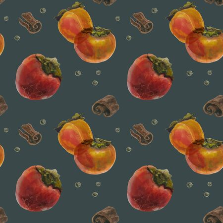 Winter persimmon watercolor seamless pattern, watercolor on a dark background