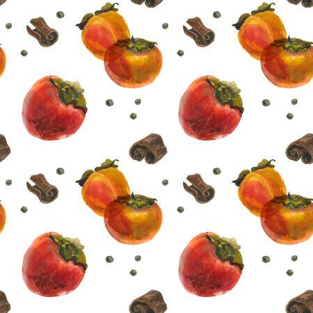 Winter persimmon watercolor seamless pattern, watercolor