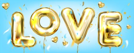 Love in a Sky blue banner with confetti