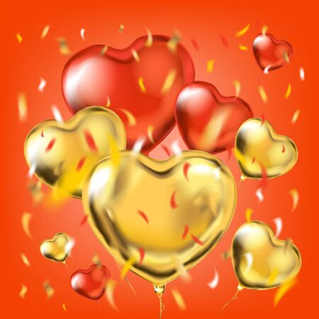 Golden and red metallic heart shape balloons and foil confetti in air