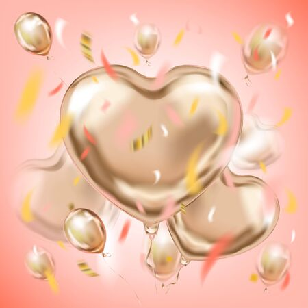 Pink image with pearly metallic foil heart shape balloons and colored confetti in air