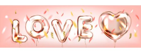 Love in a Air pink romantic banner with confetti
