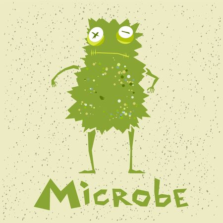 Funny green microbe in a cartoon style Illustration