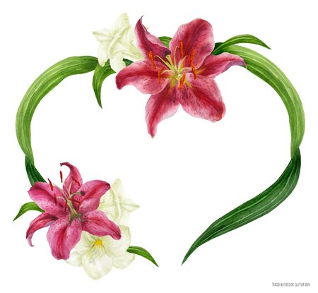 Tropical heart wreath with stargazer lily and white freesia, traced watercolor