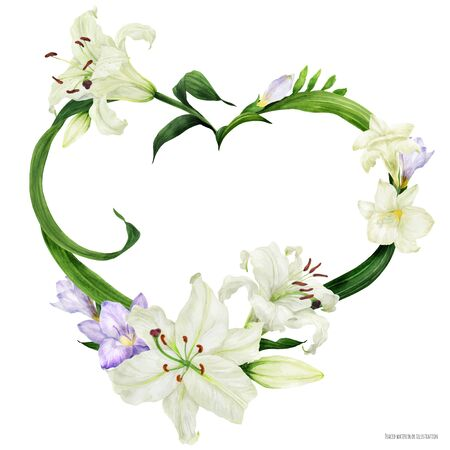 Tropical heart wreath with oriental lily and freesia, traced watercolor Ilustração