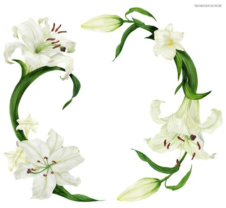 Tropical wreath with white lily and freesia, traced watercolor