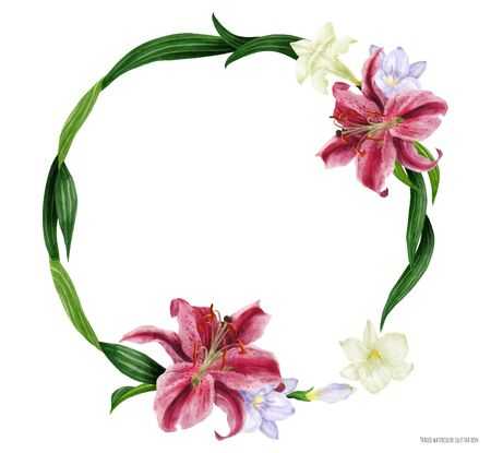Tropical round wreath with stargazer lily and white freesia, traced watercolor