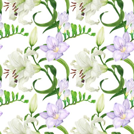 Lily and freesia flowers traced watercolor seamless pattern
