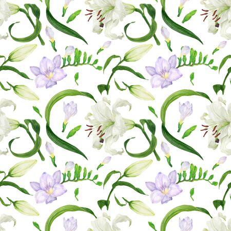 Tropical seamless pattern with lily and freesia flowers watercolor seamless pattern