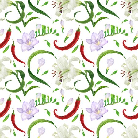 Tropical flowers and red peppers traced watercolor seamless pattern Stock Photo