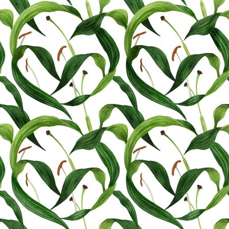 Tropical lily leaves traced watercolor seamless pattern