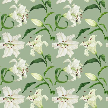 Tropical light green seamless pattern with oriental white lily, traced watercolor
