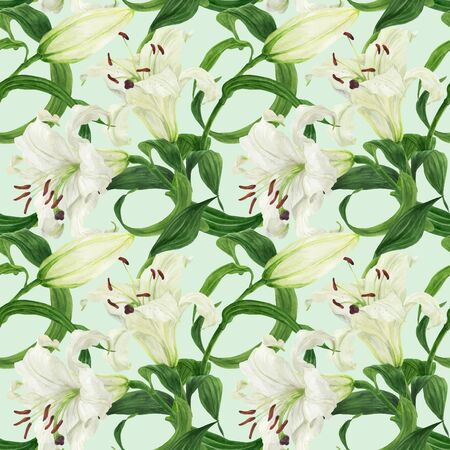 Tropical floral seamless pattern with oriental white lily, traced watercolor