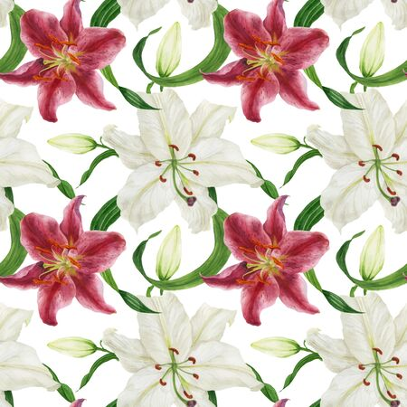 Tropical white and pink lilies traced watercolor seamless pattern