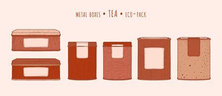 Tea vintage metal square tins in the hand-drawn technique