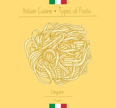 Italian Food Linguine Pasta, sketching illustration in the vintage style