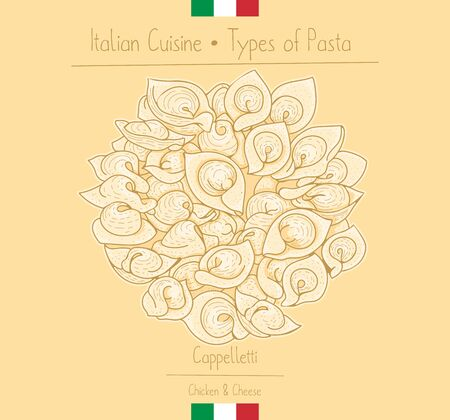 Italian Food hat-shape pasta with cheese filling aka Cappelletti, sketching illustration in the vintage style