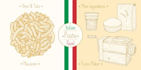 Cooking italian food Elbow-Shaped Pasta aka Macaroni and main ingredients and pasta makers equipment, sketching illustration in vintage style