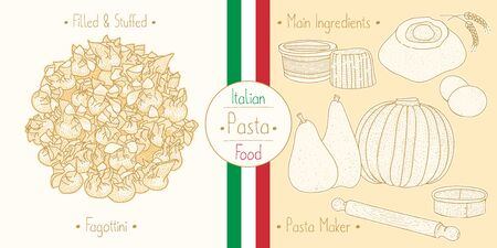 Cooking italian food stuffed Fagottini Pasta with filling and main ingredients and pasta makers equipment, sketching illustration in vintage style