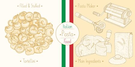 Cooking italian food stuffed Tortellini Pasta with filling and main ingredients and pasta makers equipment, sketching illustration in vintage style Illustration