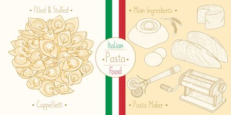 Cooking italian food stuffed Caooelletti Pasta with filling and main ingredients and pasta makers equipment, sketching illustration in vintage style 일러스트