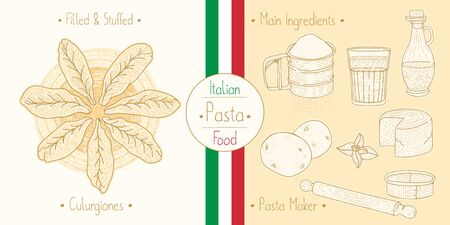 Cooking italian food stuffed Culugrione Pasta with filling and main ingredients and pasta makers equipment, sketching illustration in vintage style Ilustracja