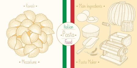 Italian Food Pasta with Filling Ravioli Mezzelune, sketching illustration in the vintage style