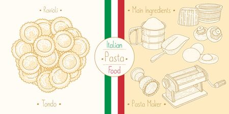 Italian Food Pasta with Filling Ravioli Tondo, sketching illustration in the vintage style