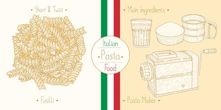 Cooking italian food shaped Pasta Fusilli and main ingredients and pasta makers equipment, sketching illustration in vintage style Illustration