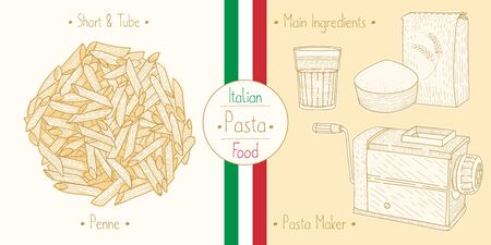 Cooking italian foodtube Pasta Penne and main ingredients and pasta makers equipment, sketching illustration in vintage style