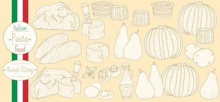 Main ingredients for stuffed pasta filling for cooking italian food Ravioli, sketching illustration in vintage style Иллюстрация