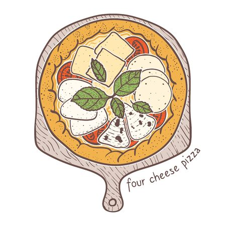 Four Cheese Pizza with ricotta and mozzarella and parmesan and gorgonzola, sketching illustration