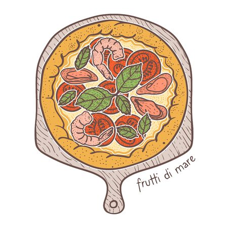 Frutti di mare Pizza with seafood, sketching illustration 向量圖像