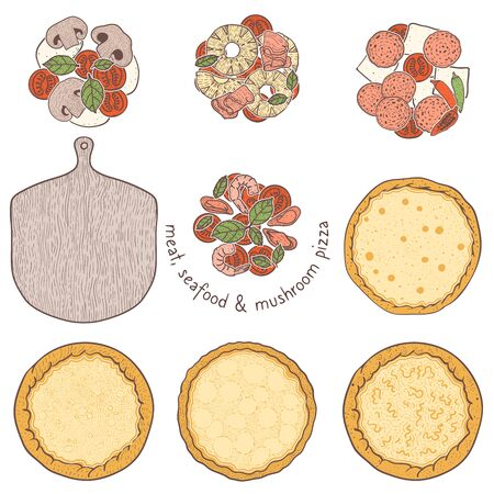 Pizza crust and unvegetarian topping meat and seafood, sketching illustration