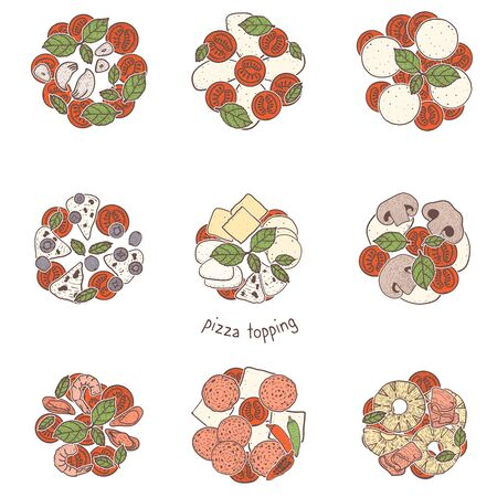 Pizza popular toppings meat and vegetarian, sketching illustration