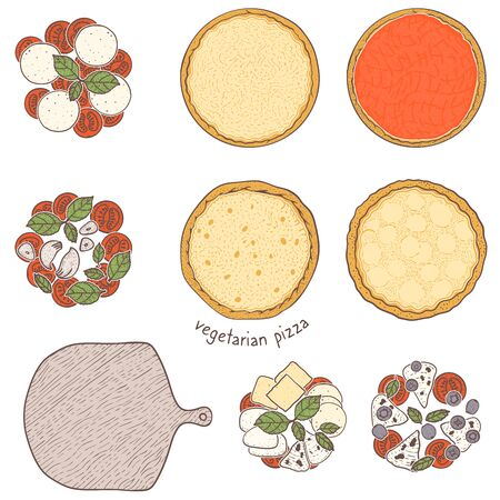 Pizza crust and vegetarian topping vegetables and green and cheese, sketching illustration Illustration