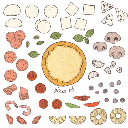 Pizza crust and popular toppings, sketching illustration