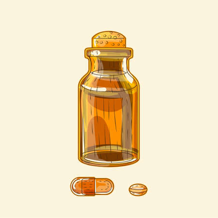 Medical brown glass wide bottle and pills, hand drawn sketch art
