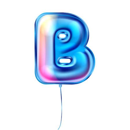 Blue foil inflated alphabet symbol, isolated letter B