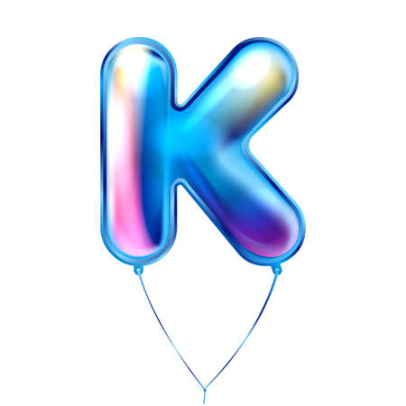 Blue foil inflated alphabet symbol, isolated letter K Illustration