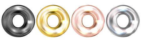 Golden foil inflated alphabet symbol, isolated letter O Ilustração