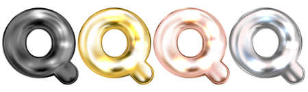 Golden foil inflated alphabet symbol, isolated letter Q