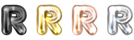 Golden foil inflated alphabet symbol, isolated letter R