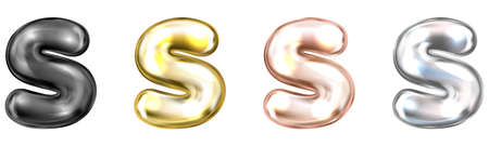 Golden foil inflated alphabet symbol, isolated letter S