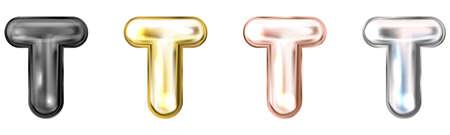 Golden foil inflated alphabet symbol, isolated letter T Stock Illustratie